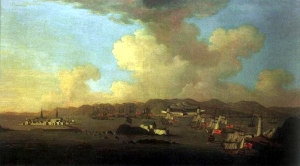 Peter Monamy (1681-1749). Attack on Louisbourg, 1745.