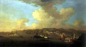 Peter Monamy (1681-1749). Attack on Louisbourg, 1745.