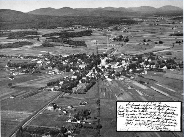 Aerial photo of the Trait-Carré of Charlesbourg, 1937. Virtualmuseum. Ca http://www.museevirtuel-virtualmuseum.ca/sgc-cms/expositions-exhibitions/village_etoile-star_village/en/history-educational-resources.php Baptismal record Francis Doucet.