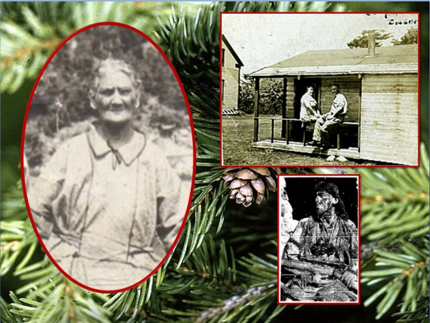 Family photos: Susan Brewer (nee Doucette), Thomas Leo Doucette and Agnes Lucy (nee Devenish) and Thomas Vincent Doucette. Family name in Mi'kmaq Sa'kati – spruce needle. Photograph of Red Spruce in background: Description Picea rubens, Bear Rock, West Virginia, USA Date 10 October 2008, 21:18 Source bear-rock-wv-mountain-view Author Forest Wander from Cross Lanes, USA