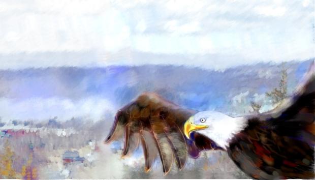 Eagle Eskasoni. Joanne Doucette, mixed media, 2013.