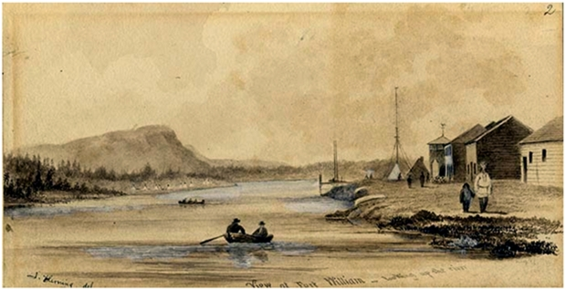 John Arnot Fleming. View at Fort William – looking up the river, Ontario 1857 Sepia water colour over pencil J. Ross Robertson Collection JRR 2319.
