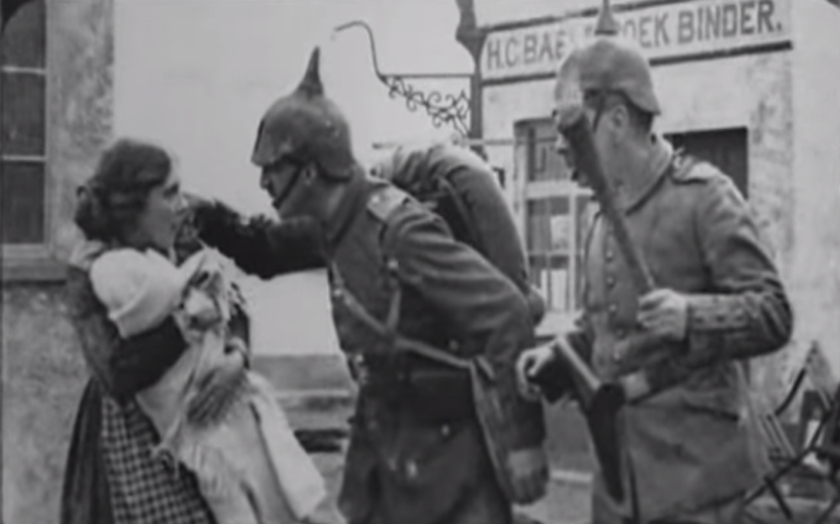 Vivid media descriptions of German atrocities in Belgium spurred on recruitment. This is a still from a propaganda film of the time. Heroic Belgium, invaded by hundreds of thousands of German soldiers, was admired. A Leslieville street was renamed Louvain after the Belgium city. People named their babies Louvain or Liege after Belgium towns that were shelled and destroyed.