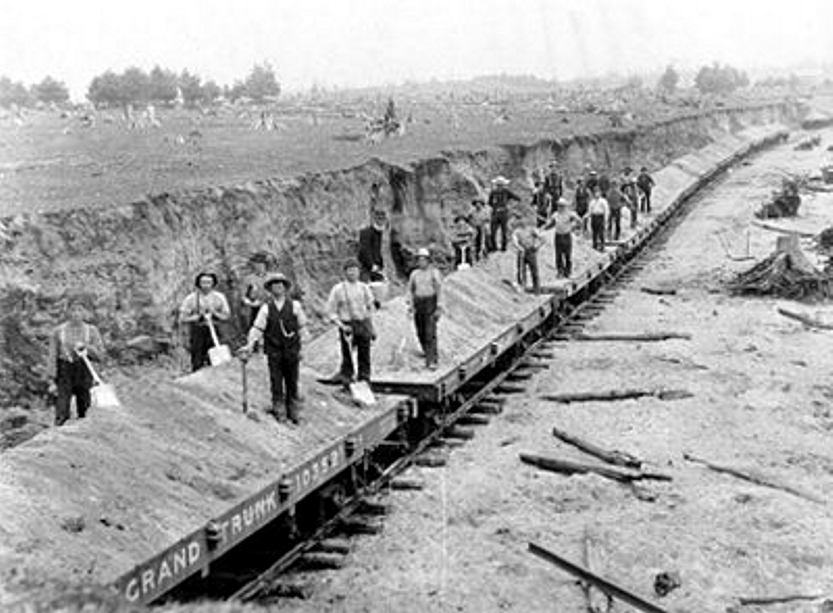 Building the Grand Trunk Railway east from Toronto.
