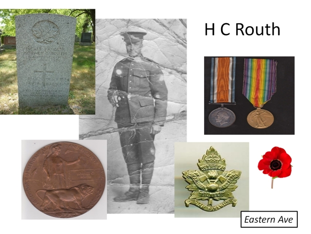 "Men like Horace Routh continued to die of wounds after the War was over. On the lower left is the so-called ""Deadman's Penny"" presented to the families of those who died."