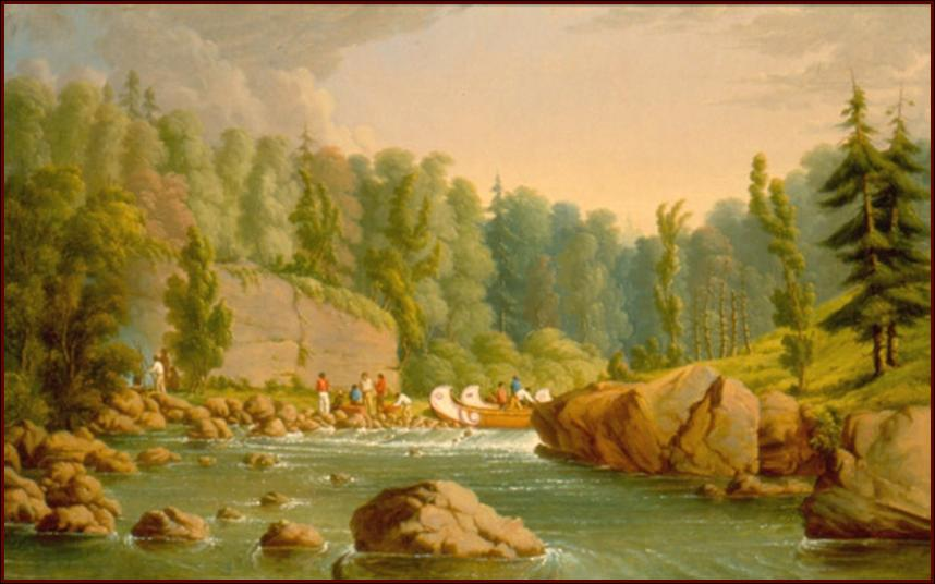 Painting of a portage the Kaministiquai River Route Paul Kane, 1849–1856 Oil on canvas; ROM 912.1 Updated per personal communication from Susan Bourne, Park Naturalist, Quetico Provincial Park