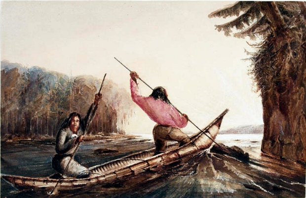 Micmac Indians Poling a Canoe Up a Rapid, Oromocto Lake, New Brunswick. Watercolour by Richard George Augustus Levinge, between 1835 and 1846
