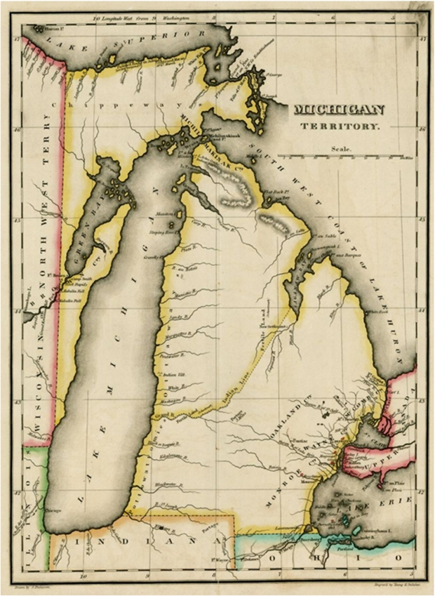 1822, Michigan Territory. Map James Finlayson. A Complete Historical, Chronological, and Geographical American Atlas.