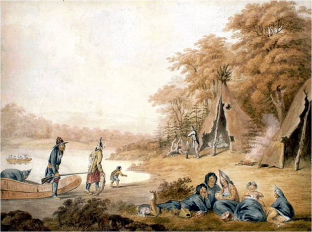 """Micmac Indian Encampment by a River,"" dated ca. 1801. Source: Library and Archives Canada."