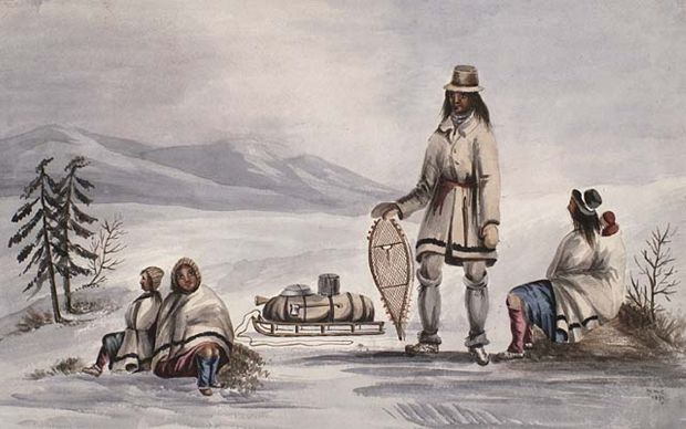 Mi'kmaq resting during a winter voyage watercolour by Millicent Mary Chaplin 1839