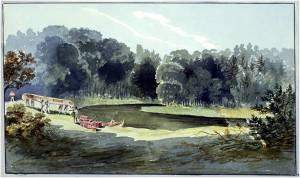 """""""Voyageurs Portage Canoes at Bend in Narrow River"""" John Elliott Woolford 1821"""
