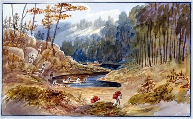 Portage at Lake Nipissing, John Elliot Woodford, 1821