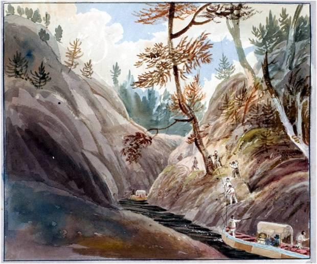 Rapid of La Dalle, French River, John Elliot Woodford, 1821.