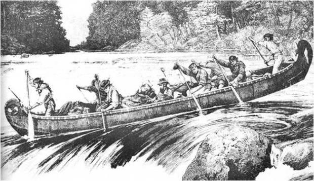 Frances Anne Hopkins A fur trade canoe on the Mattawa River, APO, I0014668.