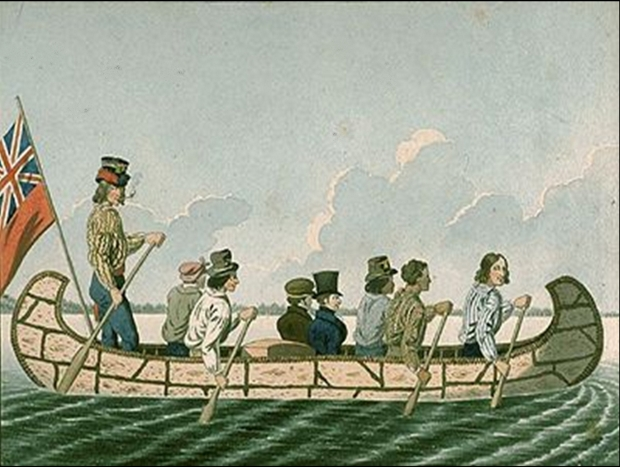 Peter Rindisbacher. Two of the Companies Officers Travelling in a Canoe Made of Birchbark Manned by Canadians (1818 - 1828) (National Gallery of Canada)