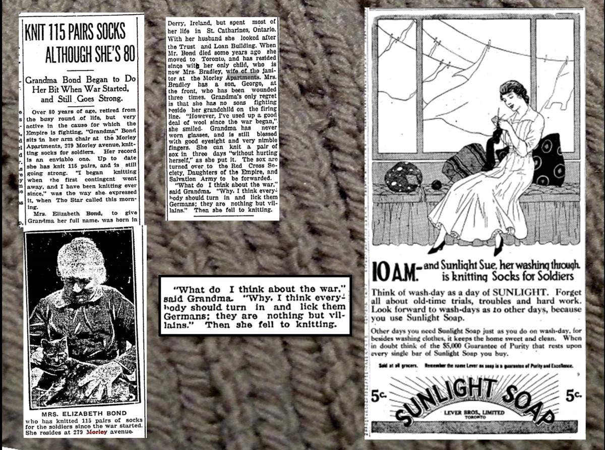Toronto Star, June 17, 1918 Mrs. Elizabeth Bond; Toronto Daily Star, March 2, 1916 Sunlight Sue