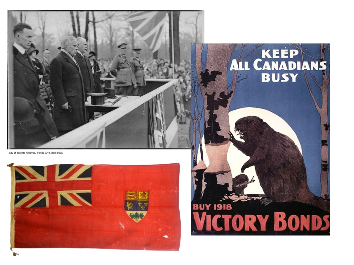 War bond drive. Prime Minister Robert Borden, Toronto Mayor Thomas Church and military officials. Poster and the Red Ensign, the unofficial but widely accepted Canadian flag of that time.