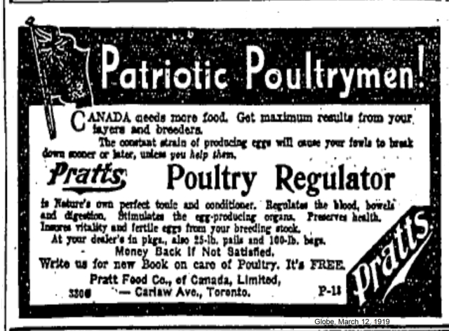 Everyone wanted to be seen as patriotic, even those who made potions for sick hens. Pratt Food Co. on Carlaw Avenue.