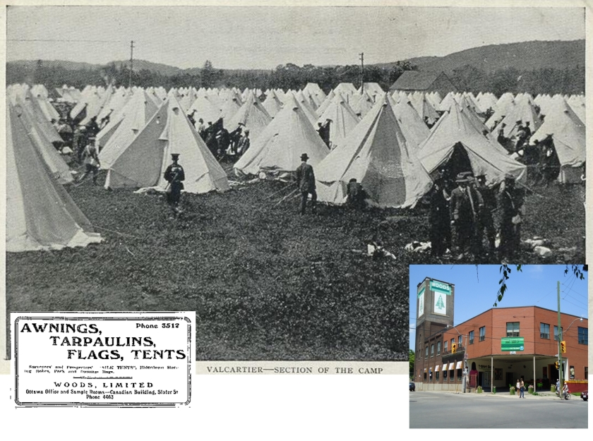Woods Manufacturing began as a supplier to the lumber industry, but became the supplier of tents to all British Empire armies in World War One. Their Toronto plant was on Logan Avenue. Ad is from the Ottawa Citizen, April 18, 1908