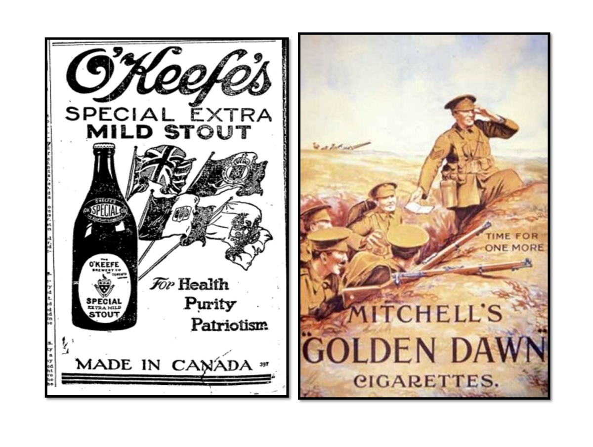 Alcohol, including beer, was available to the men in the trenches even when Prohibition banned here in Canada. Cigarettes were universal and even include in Queen Mary's Comfort Boxes given to the troops.