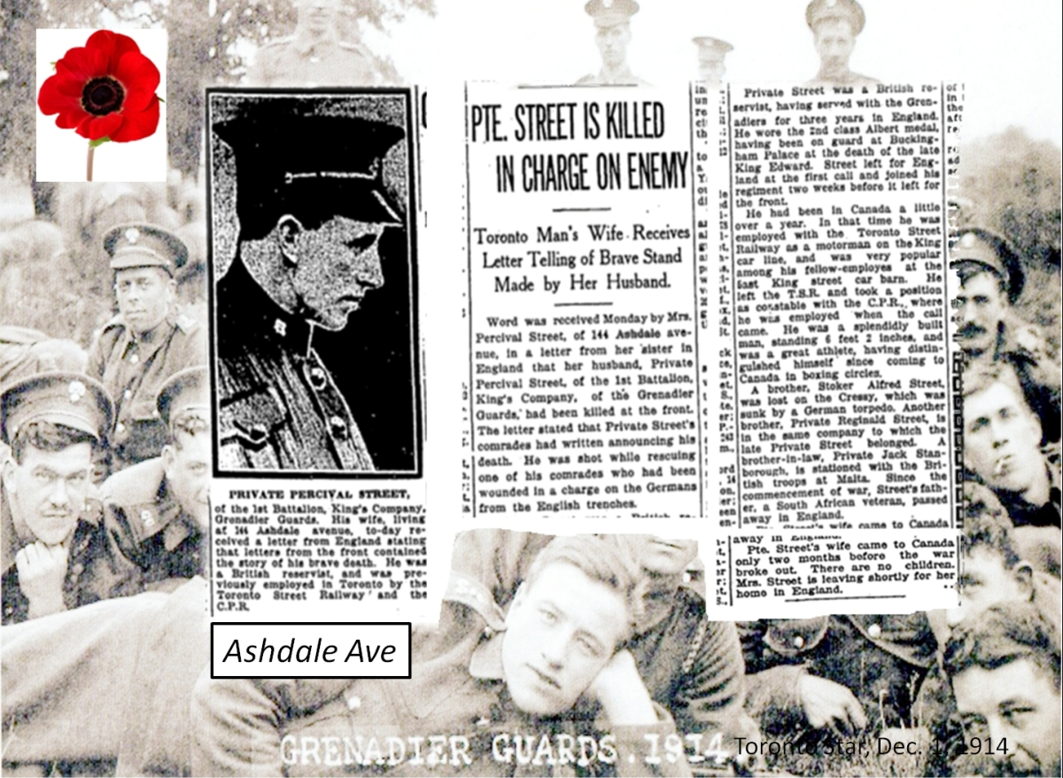 Private Street was one of the first casualties from Ashdale Avenue though he was far from the last. He died 26 Oct 1914 fighting in the retreat from Mons, Belgium.