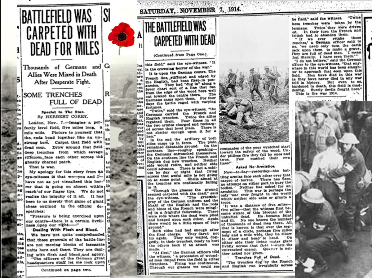Toronto Star Nov. 7, 1914. Such open reporting did not last long. Censorship soon prevented such graphic descriptions of casualties, not wanting to demoralize people at home or discourage recruiting.
