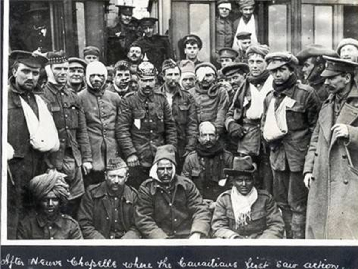 Wounded Canadian and Indian soldiers after the Battle of Neuve Chapelle, March 10, 1915