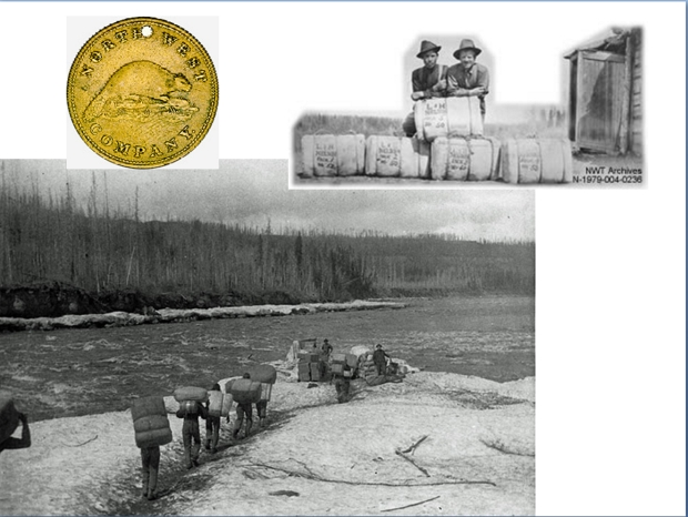 North West Co. Brass Token, 1820. CoinsandCanada.com Portaging. McCord Museum. Upper right NWT Archives. (Photo by R. Chappel) http://www.northwestjournal.ca/XVII3.htm