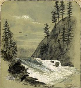John Arnot Fleming. Fall at Rat Portage [Kenora], Winnipeg River, Ontario 1857. Pencil, grey & blue water colour. J. Ross Robertson Collection JRR 2357