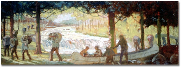 """The Short Portage -- The Carrying Place, La Salle on the way over the HumberRiver to the Holland River and on to Lake Simcoe. George A. Reid Oil on board, 29.8 x 87.6 cm (11.7"""" x 34.5"""")"""