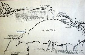 Percy Robinson's tracing and translation of Galinée's second map of 1670 in Ron Williamson, It's Not The Trail: It's The Land It Crosses, originally published January 13, 2010.