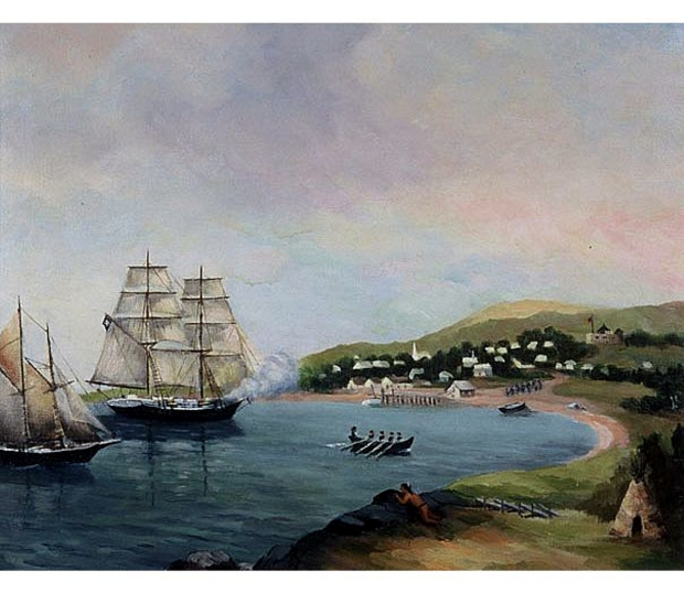 Sack of Lunenburg, Nova Scotia, Canada (1782) A J Wright c 1900. Although this painting by an untrained artist is of different raid almost 40 years after the attack on Ingonish, it does convey an eerie sense of impending doom. No known depictions of the raid on Ingonish exist.
