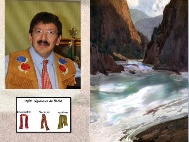 """Robert Doucette, president of the Métis Association of Saskatchewan. (Photo from Metis Association of Saskatchewan, with their permission). Right based on colour drawing by C.W. Jefferys, titled """"The Descent of the Fraser River, 1808"""". From Pioneers of the Pacific Coast: A Chronicle of Sea Rovers and Fur Hunters, by Agnes C. Laut, published in 1915. Bottom: English: Regional styles of the arrow sash (ceinture fléchée) Citation: Date 27 October 2011 Source Own work Author Chev81"""