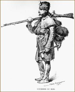 "Voyageur or ""courier du bois"" with rifle and axe. 1891 Sketch by Frederic Remington. Glenbow Archives NA-1406-55 Published in ""Harpers New Weekly"", March 1892."