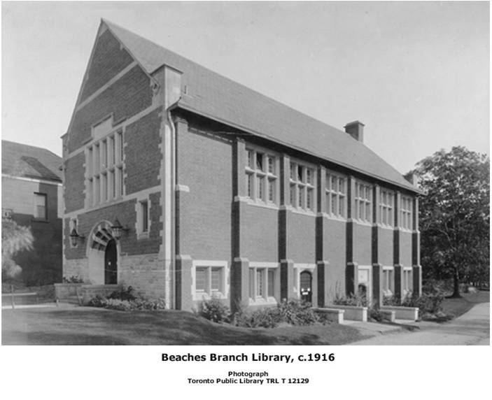 Beaches Branch, Toronto Public Libary. Coutesy of the Toronto Public Library.