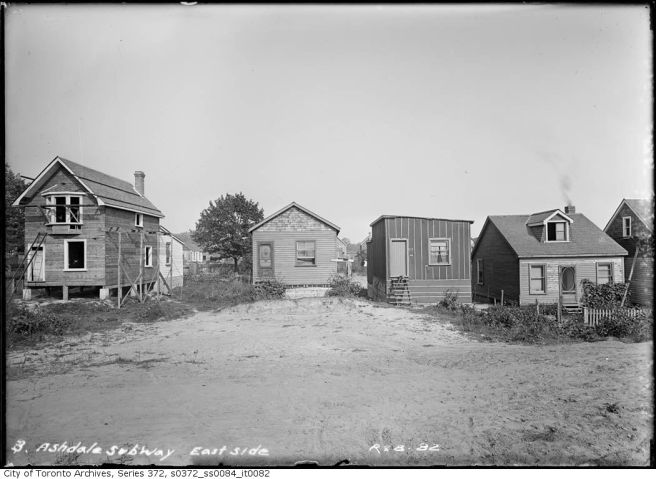 "Ashdale Avenue, Sept. 20, 1910. Showing a ""villa"" under construction (left) shacks (center) and a bungalow (right). Courtesy of the City of Toronto Archives."