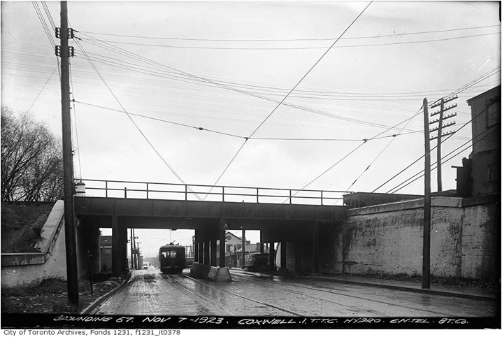 Streetcar passing through the new underpass, Coxwell Avenue, City of Toronto Archives.