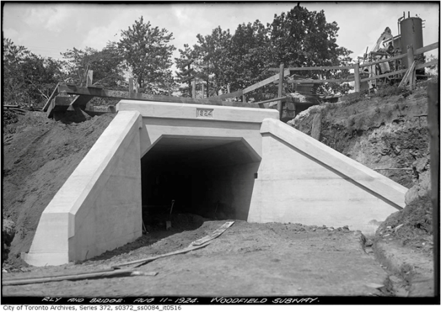 Pedestrian underpass between Woodfield Road and Monarch Park, August 11, 1924, City of Toronto Archives.