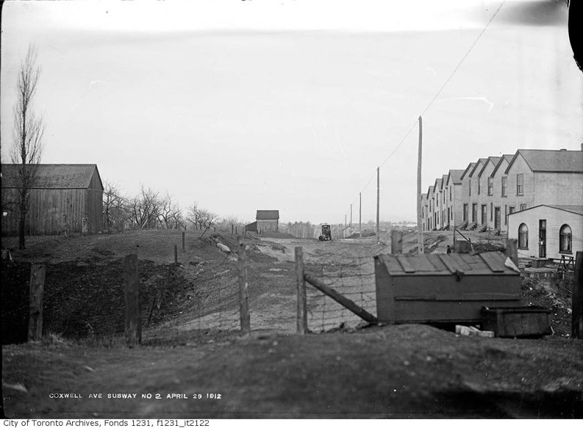 Coxwell Avenue, looking south from railway, 1912. This was before the underpass was built. It was still a dangerous level crossing. Courtesy of the City of Toronto Archives.