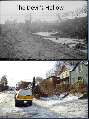 Top picture courtesy of the Toronto Public Library Digitial Collections. Bottom photo 2012 by Julia Patterson.