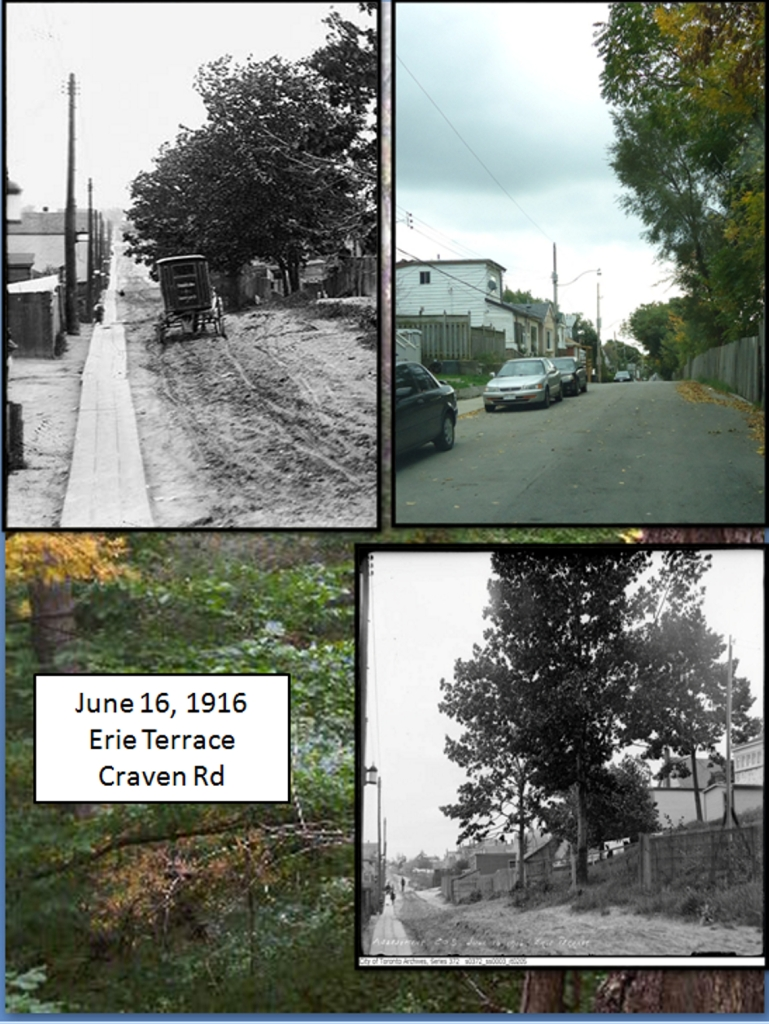 Erie Terrace (now Craven Road), 1916. 1916 Photographs courtesy of the City of Toronto Archives. Photo 2012 by the author.