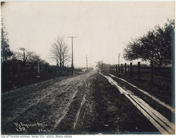 Greenwood Avenue looking south from the GTR Tracks, 1901. Courtesy of the Toronto Public Archives.