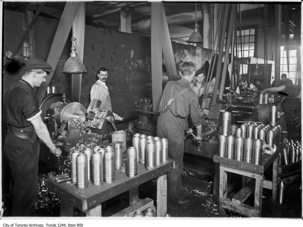 Munions factory, c. 1915, William James family fonds, City of Toronto Archives