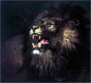 Painting of lion by Raden Sarief Bastaman Saleh, also known as Raden Saleh Ben Jaggia, Raden Saleh Syarif Bustaman, 1838