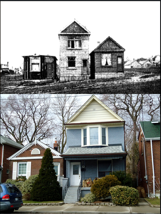 Shacks Coxwell Avenue, c. 1910. Source unknown. Public domain. Coxwell Avenue, similar houses, 2012, photographer Julia Patterson.