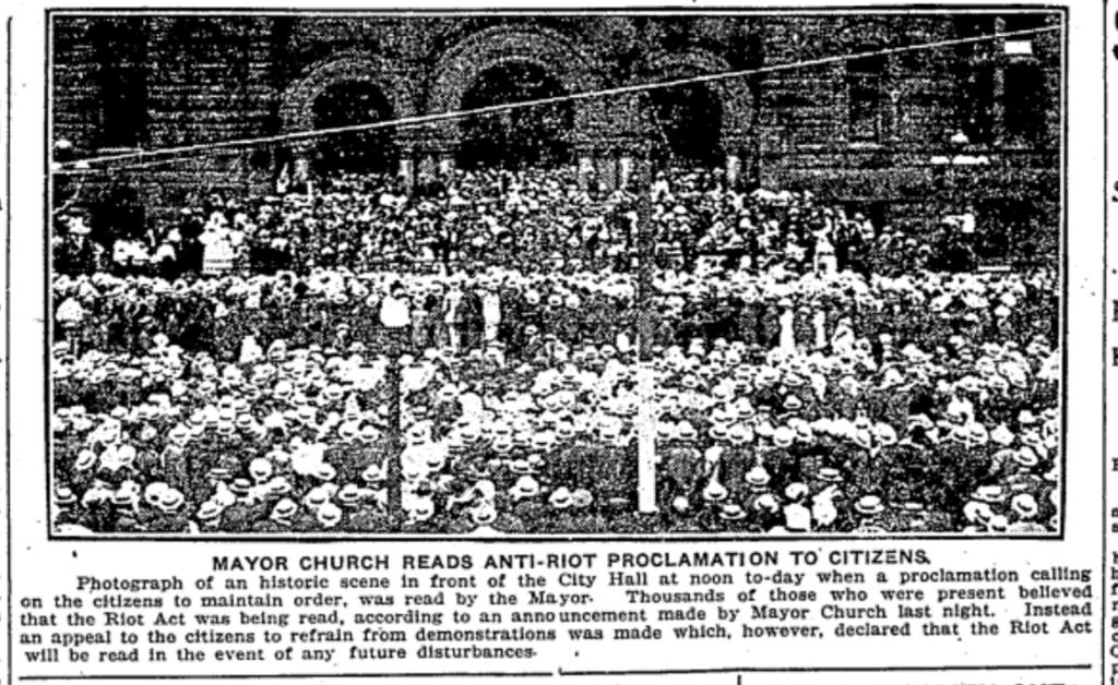 Mayor Thomas Church issues anti-riot proclamation. Toronto Star, August 7, 1918.