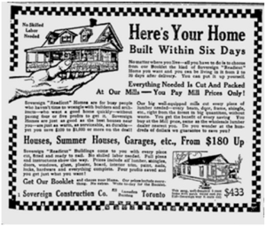 Pre-fabricated bungalow, advertisement, Toronto World, April 1, 1911.