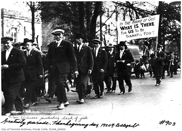 War veterans protesting lack of work, c. 1919, City of Toronto Archives.