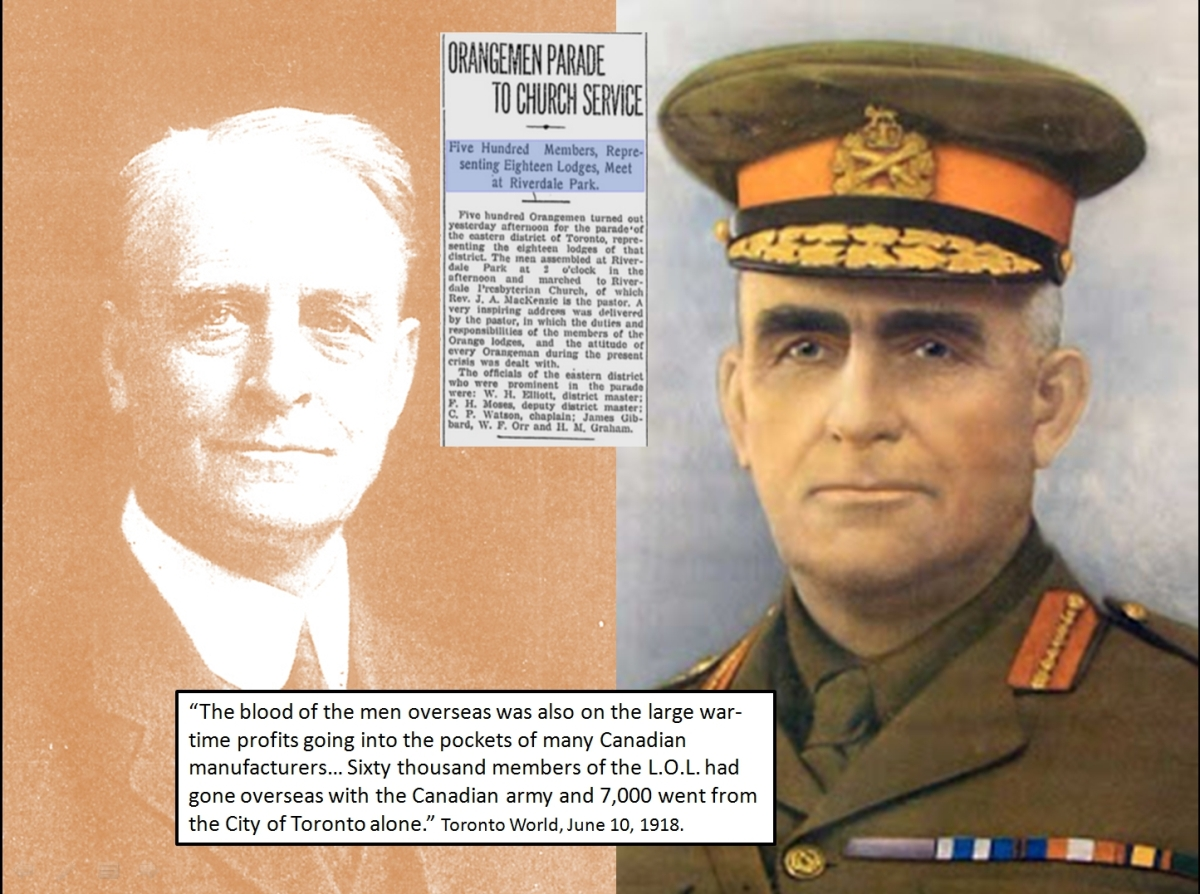 John Lachlin Hughes in suit and tie. General Sam Hughes in uniform. Both were senior officials in the Orange Order.