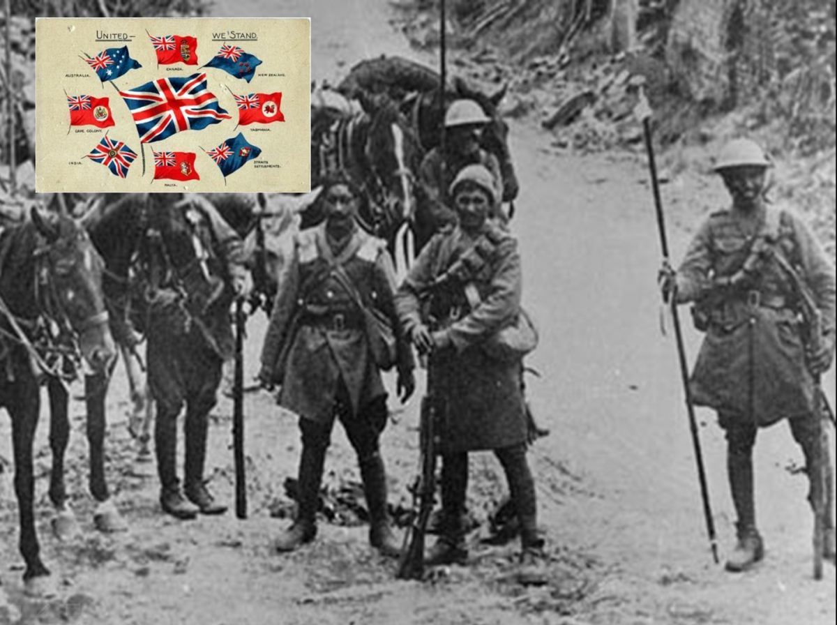 Britain drew on the Empire to fight in the trenches. Men poured in by the hundreds of thousands from what are now the countries of India and Pakistan... thought they were not welcome as immigrants in Britain or the Dominions of Canada, Australia and New Zealand.